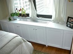 Richard Weinstock Hammer Time Studio Brooklyn Hvac Cover With Attached Cabinets by Built In Wall Units, Built In Shelves Living Room, Custom Radiator Covers, Custom Furniture, Furniture Design, Ikea, Apartment Makeover, Apartment Ideas, Galley Kitchens