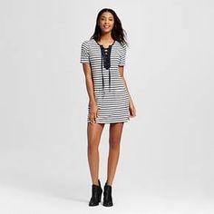 Women's Stripe Lace Up Short Sleeve Dress - Blu Pepper(Juniors') : Target