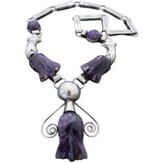 Preowned Vintage Carved Amethyst Mexican Silver Necklace Tulip Design... ($875) ❤ liked on Polyvore featuring jewelry, necklaces, pendant necklaces, purple, vintage jewelry, vintage jewellery, purple amethyst necklace, amethyst jewelry and purple pendant necklace