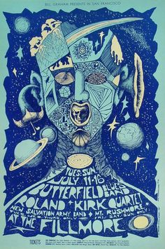 The Paul Butterfield Blues Band, Rahsaan Roland Kirk Quartet, The New Salvation Army Band, Mt. Rushmore Fillmore Auditorium, San Francisco CA 7/11-16/1967 artist: Bonnie Maclean