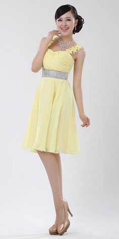 Yellow Short SparkLy Square Beading Top Prom Dress [short yellow ...