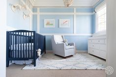 "Baby Blue Nursery in SF - A lot was done to revamp this room. ""We painted, wallpapered and added window treatments all in an effort to bring out the great molding,"" says Courtney. - @Homepolish San Francisco"