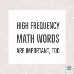 Everyone knows the importance of sight words in Language Arts but the importance of high frequency math words is just as important in mathematics. Teaching Time, Teaching Math, Teaching Resources, Maths, Creative Teaching, Classroom Resources, Math Classroom, Math Games, Math Words