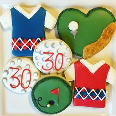 Golf cookies. 30th birthday cookies, argyle cookies