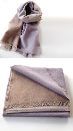 Cotton Scarf  Light Brown and Purple / Hand-Dyed by lucilakenny