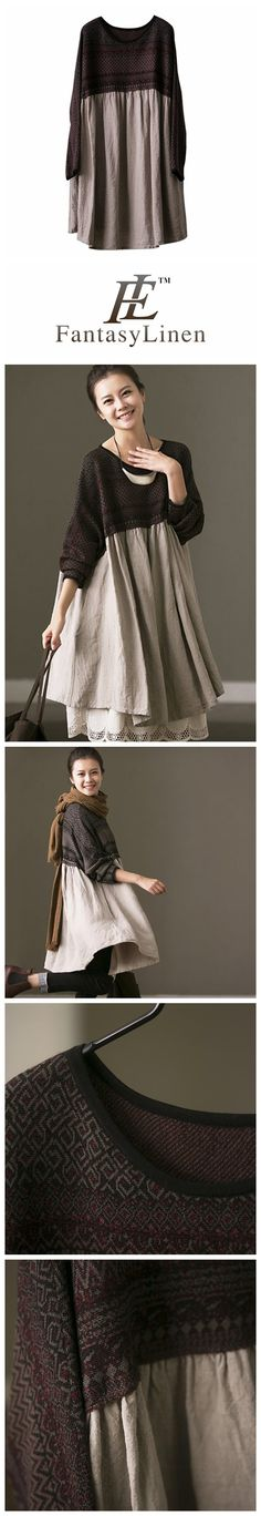 Plus Size Linen Dresses For Women Q6967B-1