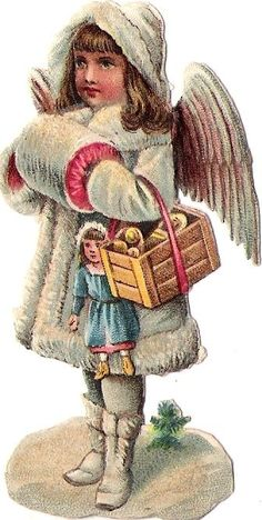 Victorian Angels, Victorian Christmas, Vintage Christmas Ornaments, Homemade Christmas Decorations, Christmas Angels, Kids Christmas, Vintage Artwork, Vintage Images, Winter Schnee