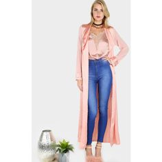 Two Tone Chiffon Satin Belted Duster Coat ROSE ($32) ❤ liked on Polyvore featuring outerwear, coats, pink, pink duster coat, satin coat, sexy coats, pink waist belt and belted coat