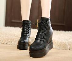 7a88af25dd06 Lace Up Ankle Boots Platform Shoes Wedges Woman 3322