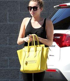 Miley Cyrus with Celine Yellow Citron Mini Luggage Bag