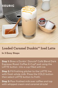 It's To celebrate, make yourself a delicious Loaded Caramel Dunkin' Iced Latte. Shop the K-Café Dunkin' bundle and make this recipe today! Cafe Latte Recipe, Cappuccino Recipe, Cafe Recipes, Baking Recipes, Dessert Recipes, Desserts, Cold Drinks, Yummy Drinks, Beverages