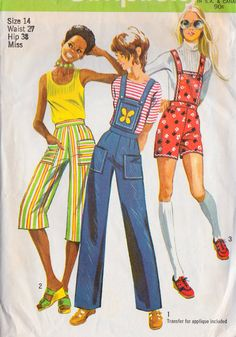 "1970s Misses Gaucho Pants or Pants with Detachable Bib Vintage Sewing Pattern, Simplicity 9375 waist 27"" hip 38""  8.00, via Etsy."