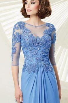 O Neck Lace Illusion Beaded Runched Long Dress