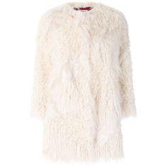 Zadig & Voltaire faux fur coat featuring polyvore, women's fashion, clothing, outerwear, coats, white, fake fur coat, white coat, white fake fur coat, imitation fur coats and faux fur coat
