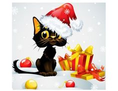 Christmas-Cats-48-Large-Sticky-White-Paper-Stickers-Labels-NEW