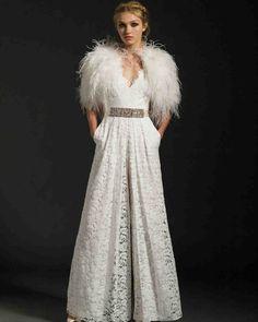 Temperley Fall 2017 Wedding Dress Collection | Martha Stewart Weddings – V-neck A-line wedding dress