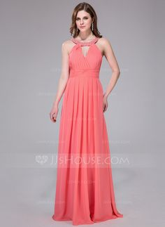 A-Line/Princess Scoop Neck Floor-Length Chiffon Holiday Dress With Ruffle Beading Sequins (017041080)