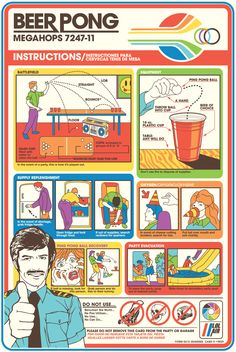 Cool retro-looking Beer Pong instruction sheet....