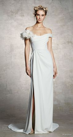 marchesa spring 2019 bridal off the shoulder simple minimalist slit skirt elegant grecian sheath wedding dress sweep train (14) mv -- Marchesa Spring 2019 Wedding Dresses | Wedding Inspirasi #wedding #weddings #bridal #weddingdress #bride ~