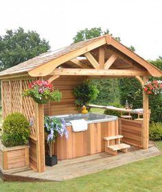 Backyard hot tub ideas #PortableShedPlan