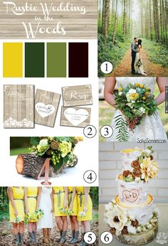 Rustic Wedding in the Woods Inspiration Board. Great mood board for outdoor wedding, yellow bridesmaid dresses and wood invitations - SohoSonnet Creative Living