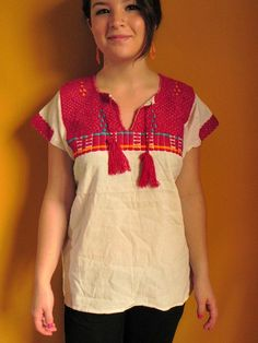 Mexican Top Blouse Red Comfortable and by madeintechnicolor-Like this, the tassels are a nice touch