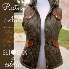 Back in Stock! Olive puffer vest with faux cognac leather trim.