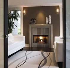 Contemporary fireplace surround ideas cast concrete mantel stainless steel modern home interior Modern Fireplace Mantles, Farmhouse Fireplace Mantels, Fireplace Tile Surround, Living Room With Fireplace, Fireplace Surrounds, Concrete Fireplace, Fireplace Ideas, Victorian Fireplace, Mantel Ideas