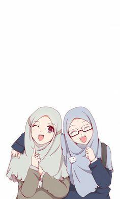 Beautiful,Pretty cute,friendship anime muslimah en 2019 anime muslim, hijab d Girls Anime, Anime Girl Cute, Anime Art Girl, Friend Anime, Anime Best Friends, Girl Cartoon, Cartoon Art, Cartoon Design, Cover Wattpad