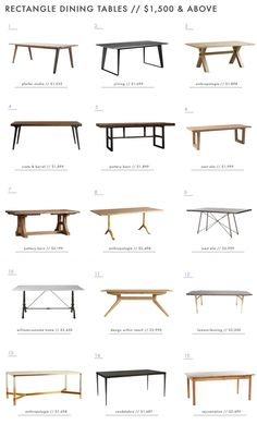 Rectangle Dining Tables over $1500