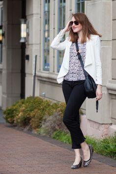 white BCBG jacket; snake print top; black Zara pants; snake print pumps; Chloe crossbody bag