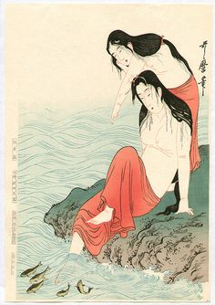 Artist: Kitagawa Utamaro Title:Abalone Divers Date:Originally in 1798, this is a re-carved edition in 1973.