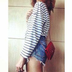 Red #Chanel denim and stripes #resortreport by tashsefton