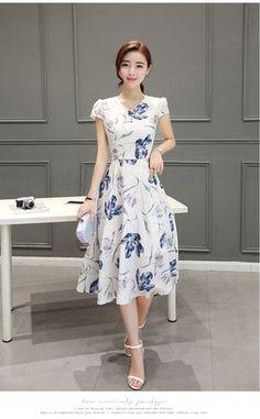 00101ff916bd9c Elegantes Vestidos Finos 2016 Verão Novo Estilo Moda feminina Roupas Doce  Retro Vestido Gola V Plus