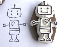 Sello de robot - robot stamp http://www.101woonideeen.nl/blog/shoppen/opvallend-vaak-robotjes.html