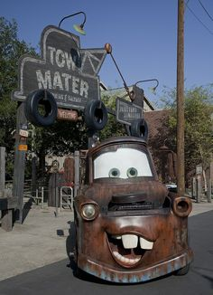 Tow Mater at the entrance to the Junkyard Jamboree attraction at . Walt Disney Co, Disney Love, Disney Magic, Disney Parks, Disney Stuff, Disney Pixar, Disney Stores, Disney Characters, Disneyland Paris