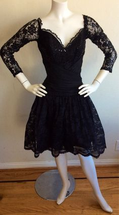 "Vintage Tadashi Dress ~~ 1990s ~~ Black French Lace and Sequins ~~ 1950s ""Mad Men"" Style"