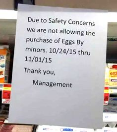 No Eggs for Minors