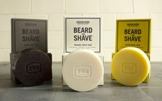 Hudson Made, Beard & Shave Soaps - The Dieline - Love the embossing of packaging. Mimics indentation of logo on soap itself. Soap Packaging, Brand Packaging, Design Packaging, Skincare Packaging, Branding Design, Mens Soap, Beard Grooming, Shaving Soap, Packaging Design Inspiration