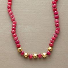 necklace - ruby beads with gold accent beads