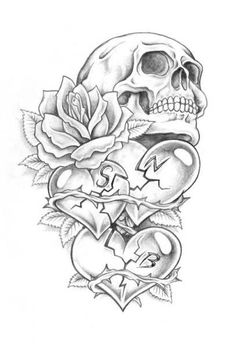 Beautiful Related Portrait Dark Art Drawings, Pencil Art Drawings, Art Drawings Sketches, Tattoo Sketches, Skull Tattoo Flowers, Skull Rose Tattoos, Body Art Tattoos, Tatoos, Skull Tattoo Design