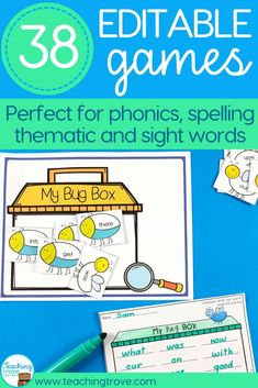 Create your own phonics, sight words or spelling games using your own word lists. It's easy with editable games.