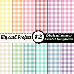 Digital Paper Gingham PASTEL  Scrapbooking  12x12 by Mycuteproject