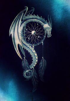 Silver Blue Dragon on a Dreamcatcher. Edited with Pixlr Express Editor