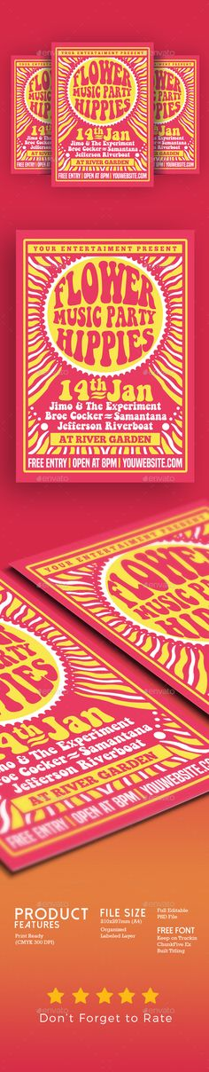 Hippies Music Party Flyer Poster Template PSD