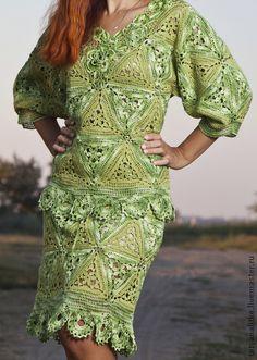 """Вязаный костюм """"Жизнь в зелёном цвете"""" - блуза вязаная,нарядная кофточка"""