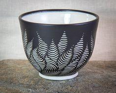 Burnt Thistle Ceramics Ebony Clay Body BlackBlack Sgraffito Tiny Feather Dish