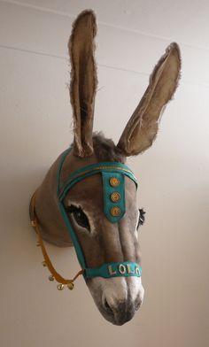 Personalised Seaside Donkey head- fabric taxidermy