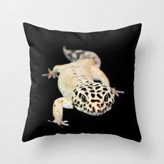 Man Cave Pillow Leopard Gecko Fun Throw by CrystalGaylePhoto   Yet another thing I want to put Allen's adorable face on!