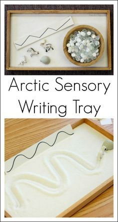 This sensory writing tray is easy to set up and lets kids practice emerging writing skills. Perfect for a preschool arctic animal theme or a winter activity. #Preschool #ECE #PreschoolActivities #PreschoolTeacher #WinterActivitiesforKids #Sensory #SensoryActivities